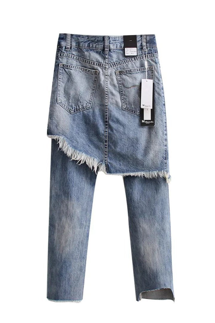 Holes Zipper Slim Long Fake Two Pieces Irregular PantsJeans