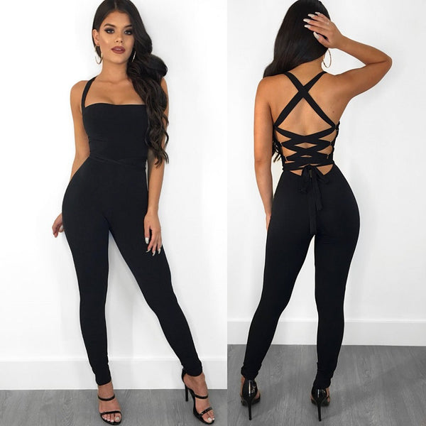 Candy Color Spaghetti Straps Long Backless Jumpsuit