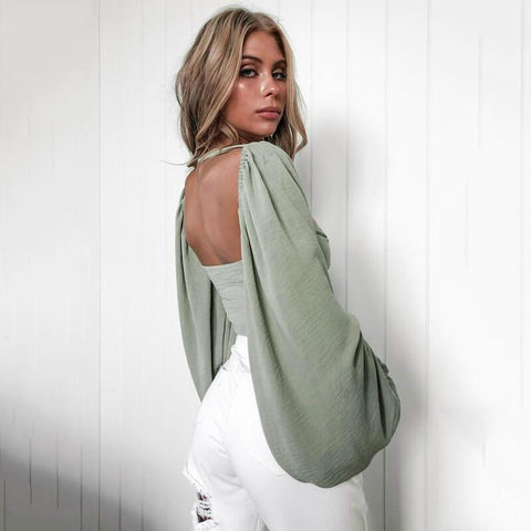 Sexy Puff Sleeve Strap Cropped Backless Tops