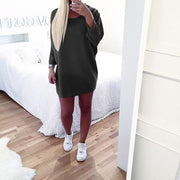 Thick Crew Neck Solid Color Loose Women Oversized Knit Sweater Dress