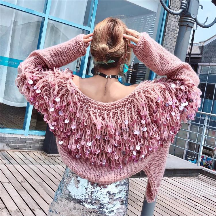 Tassels Sequins Loose Knit Women Oversized Cocoon Cardigan