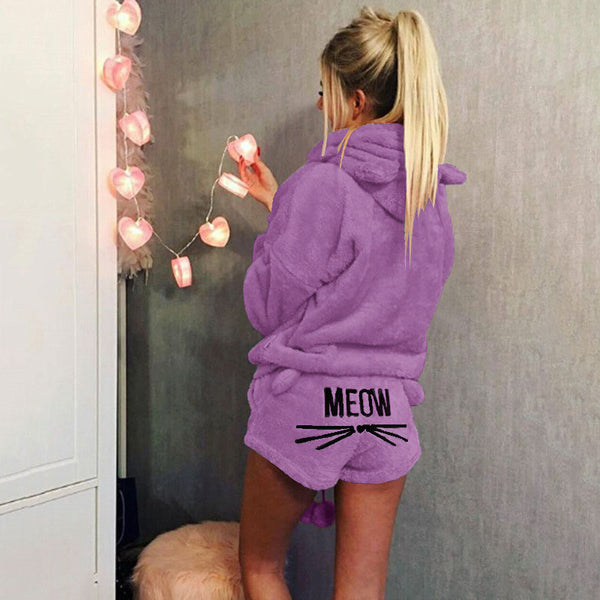 Lovely Cat Print Candy Color  Hooded with Shorts Women Fluffy Pajama Sets