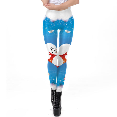 Cartoon Print Middle Waist Elastic Women Skinny Christmas Leggings
