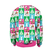Patchwork Christmas Tree Santa Claus Digital Print Women Sweatshirt