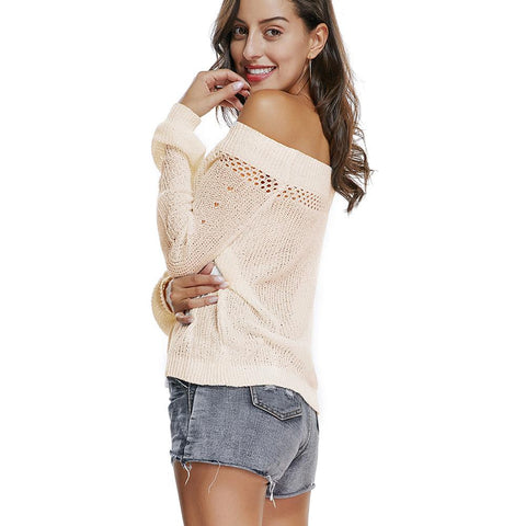 Street Shoulder Long Sleeves Loose Knit Sweater