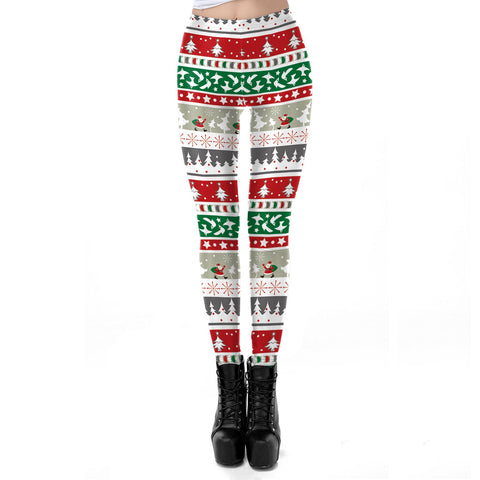 Stripe Snow Print Mid Waist Women Christmas Skinny Leggings