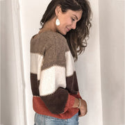 Crewneck Colorblock Patchwork Knit Pullover Sweater