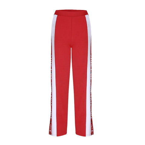 Love Letter Print Stripe Side Split Women Wide-leg Pants