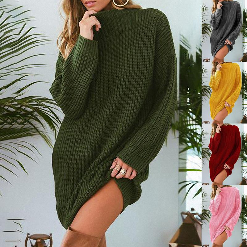 2018 Autumn Winter Candy Color Long Loose Sweater