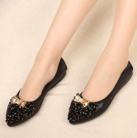 Bow Pointed Close Toe Oxford Rhinestone Flats