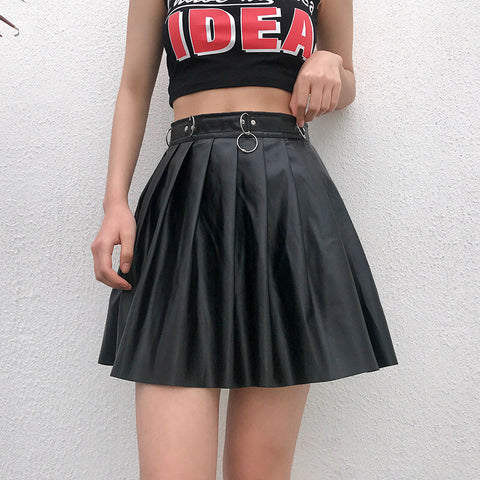 Sexy Black Leather High Waist Pleated Skirts