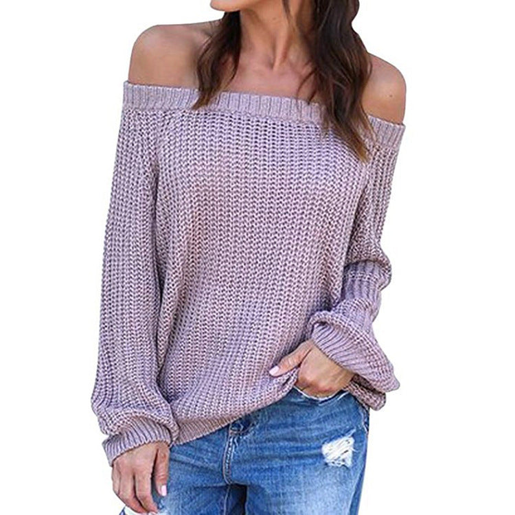 Off the Shoulder Women Long Bishop Sleeves Loose Pullover Sweater