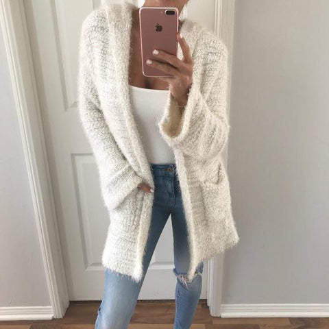 Solid Color Loose Pockets Cocoon Oversized Cardigan
