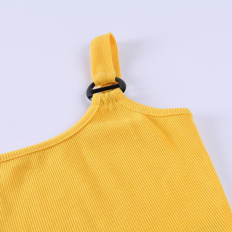 Summer Yellow Plain Backless Cropped Tank Tops