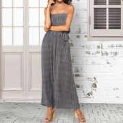 Strapless Stripe Empire Wide Leg Jumpsuit