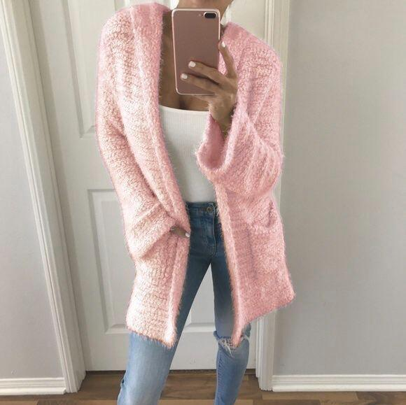 Solid Color Pockets Cocoon Oversized Cardigan