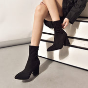 Black High Heel Suede Sock Boots
