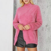 High Neck Solid Color Split Long Mohair Women Pullover Sweater