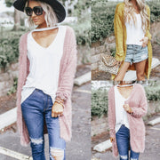 Candy Color Women Loose Long Women Cardigan Sweater