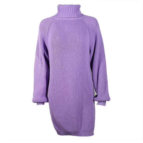 Turtleneck High Neck Long Lantern Sleeves Split Oversized Long Sweater Dress