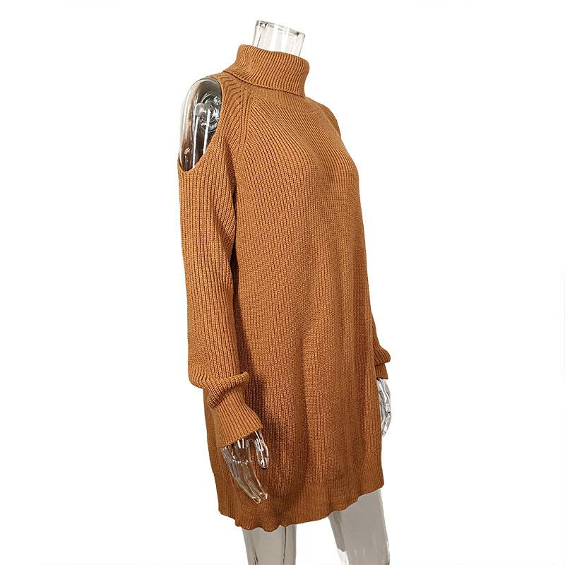 Turtleneck High Neck Bear Shoulder Loose Oversized Sweater Dress
