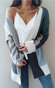 Color Block Patchwork Oversize Women Cocoon Long Cardigan