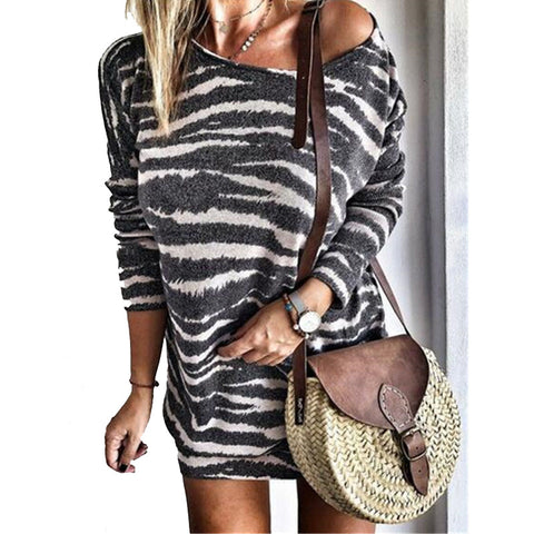 Scoop Neck Zebra Striped Sweater Dress