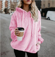 Fluffy Drawstring Solid Color Women Teddy Hoodie