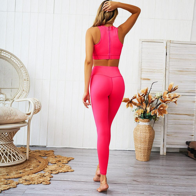 Bright Color Long Sleeve High Waist Bodycon Skinny Pant Sets