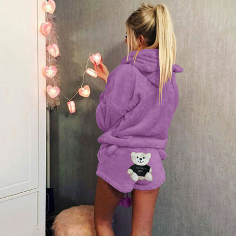 Cute Bear Print Women Hooded with Shorts Women Fluffy Pajama Set