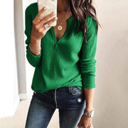 V-neck Knitwear Solid Color Women Slim Sweater