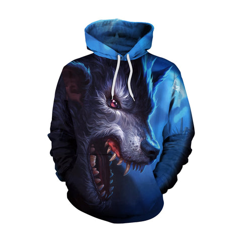 Colorful 3D Digital Cartoon Print Women Loose Hoodie