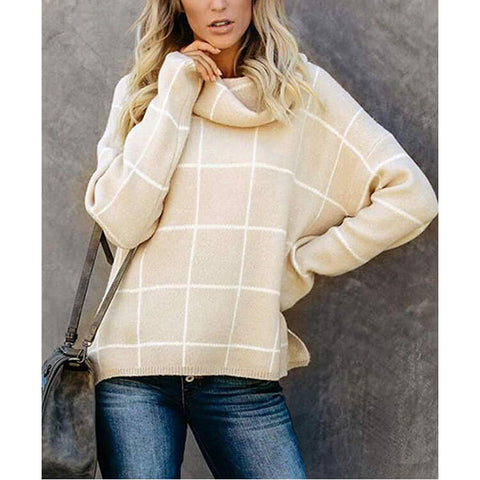 Turtleneck Plaid Slits Knit Pullover Sweater