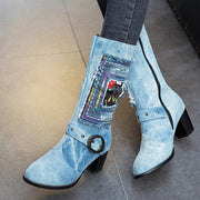 Jeans Stylish Chunky Low Heel Mid Calf Boots