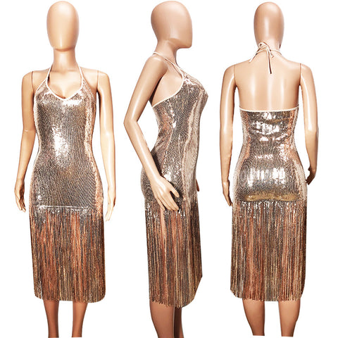 Sequins Halter Tassels Women Knee-length Club Party Dress
