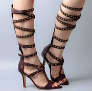 Brown Leather Buckle High Heel Knee High Sandals