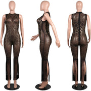 Sparkle Fringed See Through Mesh Jumpsuits