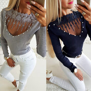 Beadings Transparent Sexy Women Slim Pullover Sweater