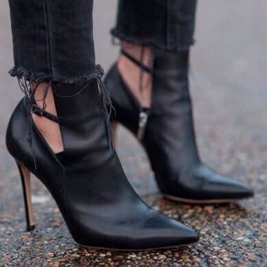 Black Ankle Strap Point Toe Straps Leather Pumps