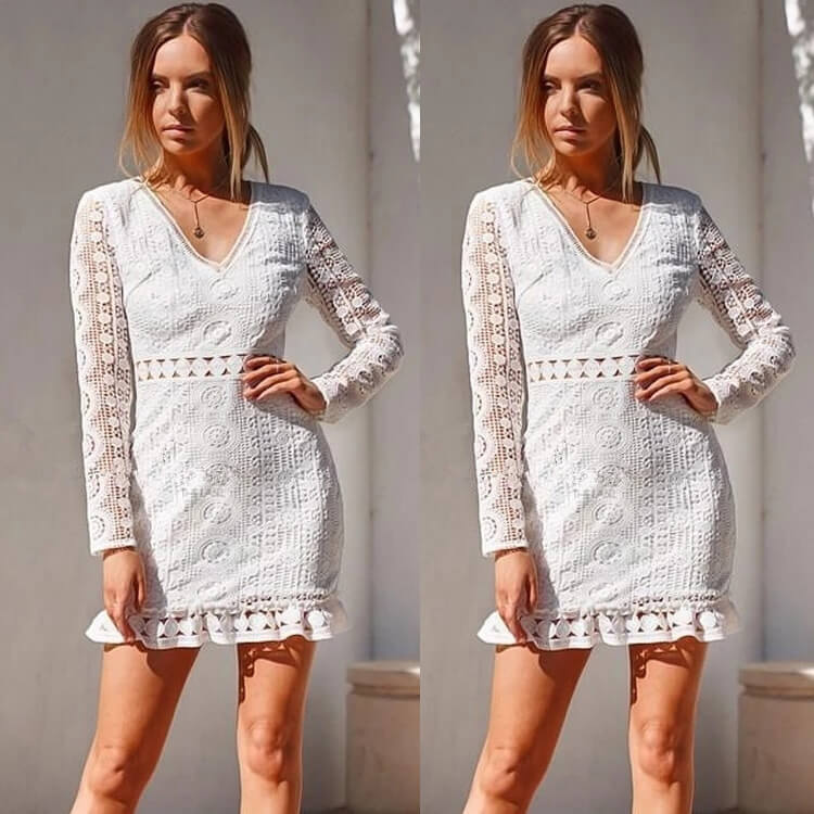 Lace Hollow Carved Backless Short Dress