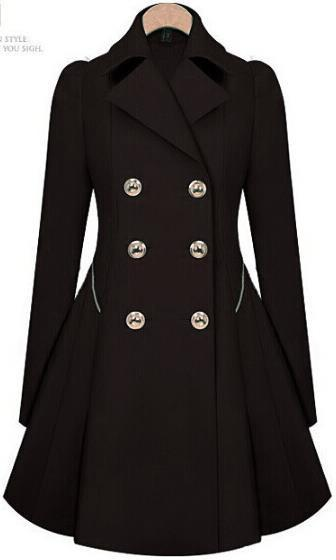 Double Button Turn-down collar Slim Plus Size Coat - Bags in Cart - 2