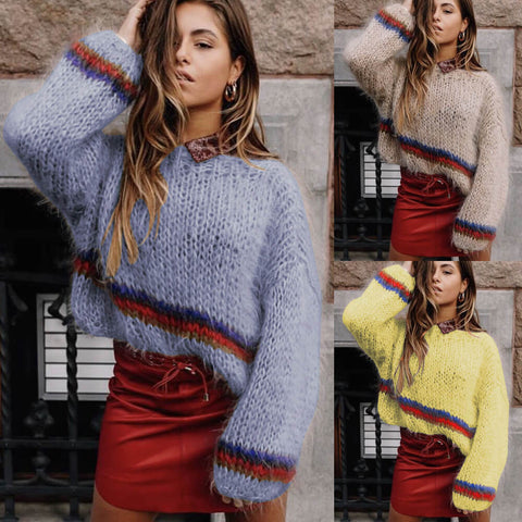 Crewneck Colorblock Lantern Sleeve Knit Sweater
