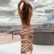 Spaghetti Strap Tiger Skin Backless Bodycon Dress