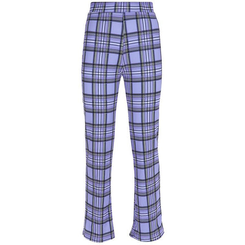 Plaid Falbala Cami Crop Top with High Waist Pencil Long Pants Two Pieces Outfit