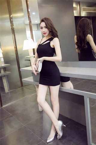 Pure Color Casual Sleeveless Spaghetti Straps Short Dress