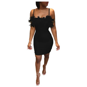 Free Shipping Feather Sling Party Dress