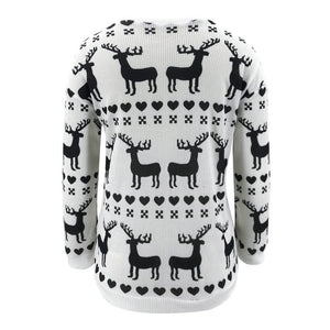 Loose Christmas Fawn Print Crew Neck Sweater