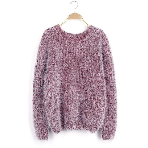 Long Scoop Sleeves Mohair Loose Pure Color Sweater