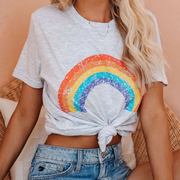 Casual Cotton Rainbow Print Short Sleeve Loose T-shirts