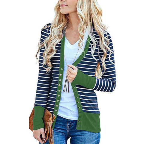 Plus Size Colorblock Stripes Midi Cardigan